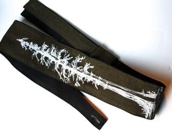 Guitar Strap, Vegan, Redwood Tree-with fair trade hemp linen-music-gifts for musicians-handmade-canvas-unique gifts-boyfriends-girlfriends