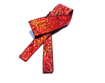 Vegan Mandolin Strap- Plumeria- Astyle or Fstyle-LIMITED pattern-hawaii-plumeria-flower-red-orange-yellow