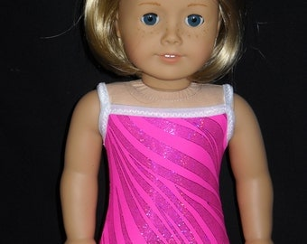 American Girl 18 inch Doll Swimsuit  Handmade Pink with Shimmery Stripes