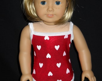 18 inch Doll Bathing Suit  Handmade Shimmery Red with White Hearts