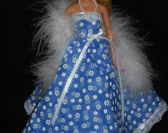 3 Piece Outfit Blue with Daisys and Lace Gown Barbie Doll Dress Handmade with Boa and Necklace