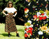 SALE 1970s Vintage Black Floral Boho Skirt Print High Waisted A Line Skirt Tea Length Flare Skirt Red Yellow Floral Size Extra Small