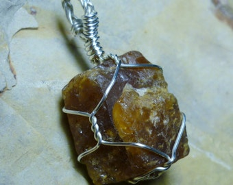 Hessonite Garnet Facet Rough Crystal Sterling Silver Wire Pendant