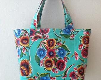 Beth's Medium Aqua Bloom Oilcloth Tote Market Bag with Exterior Pockets