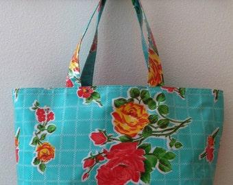 Beth's Aqua Vintage Rose Large Oilcloth Market Tote Bag