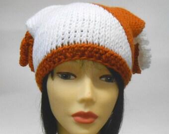 Crochet Cap, Cat Ears Cap, Square Cap, Color Block Hat, Curlicue cap