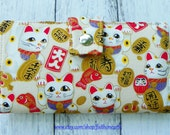 Handmade Long Wallet  BiFold Clutch - Vegan Wallet - large maneki neko lucky cat