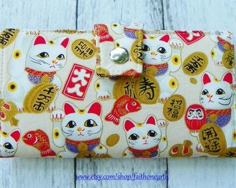 Handmade Long Wallet  BiFold Clutch - Vegan Wallet - large maneki neko lucky cat or half size unisex wallet