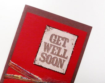 Get Well Card Red Greeting Card Get Well Soon Card Brown and Red Card Western Style Card Blank inside card with envelope OOAK greeting card