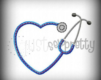 Mini Heart Stethoscope Embroidery Applique Design