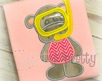 Hippo Swim Embroidery Applique Design
