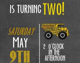 Dump Truck Birthday Invitation / Chalkboard Boy Birthday Invitation / Printable File