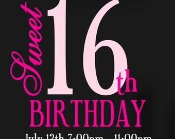 Sweet 16 Birthday Invitation, Sweet Sixteen Invitation