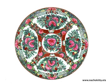 1950s Asian Dining Plate   Hand Painted Flowers and Butterflys