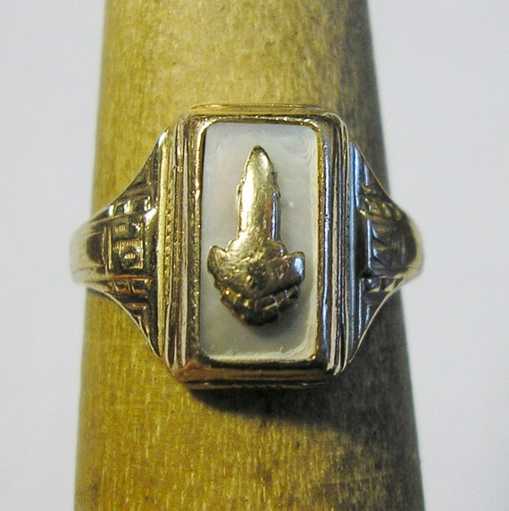 antique class ring 10 kt yellow gold sz 5 75 of by