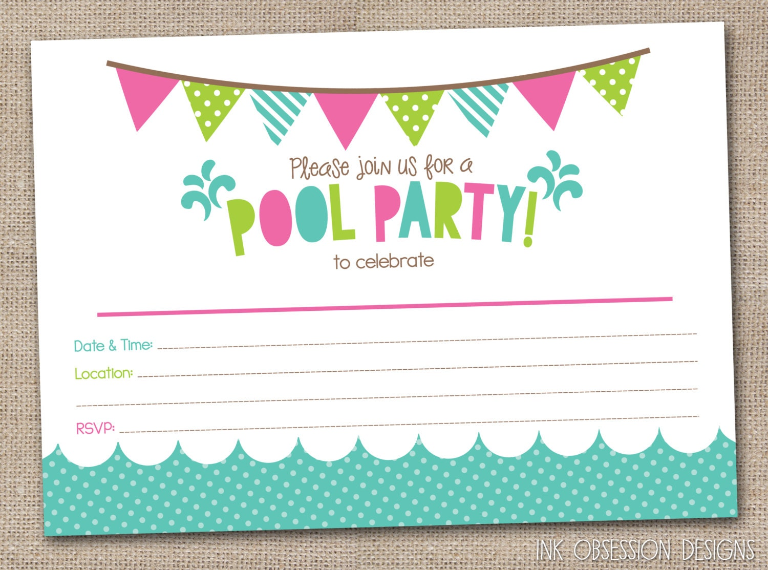 Pool party invitation template stopboris Image collections