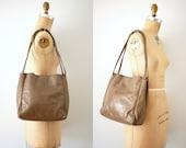 leather tote bag / Vintage 70s Mushroom Taupe Leather Letisse Shoulder Tote Bag