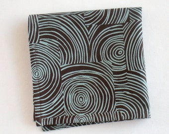 Organic Napkins, Eco Friendly Cloth Napkins, Reusable - Brown & Aqua Swirl, Set of Four