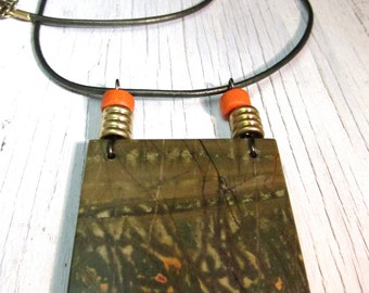 Red Creek Jasper Necklace, Natural Earthy Green OOAK Slab, Wearable Art Jewelry, Leather by SusanHeleneDesigns