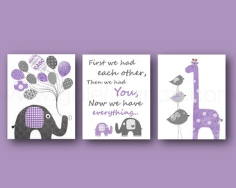 Nursery Art Baby Girl Nursery Decor First we had each other Quote nursery Kids wall art elephant nursery giraffe purple gray Set of 3 prints