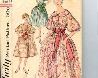 Vintage 1950s Dress Simplicity 3203 Pattern Full Skirt Fit & Flare Dress has Sleeve and Neck Variations Front Button Bodice Bust 34