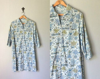Vintage COCKEREL Dress • 1970s Womens Clothing • Unique Handmade Button Up Collared Shirtdress • Light Blue Green Teal Turquoise • Medium