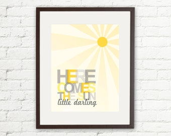 The Beatles • Here Comes The Sun Little Darling • 11x14 Printable • Instant Download