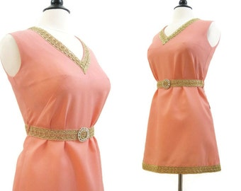60s Dress Vintage Peach Coral Gold Trim Tunic Micro MIni Top Rhinestone Belt M L