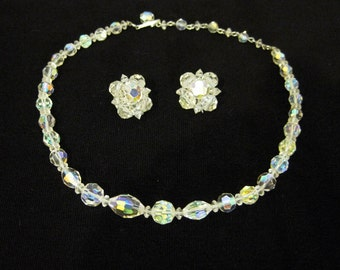 50s Necklace Vintage Aurora Borealis Crystal Choker and Earrings