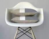 Gray & Cream Color Block Pillow (Set of 2) Modern Home Decor by JillianReneDecor   Minimal   Linen Colorblock Pillow   Paloma