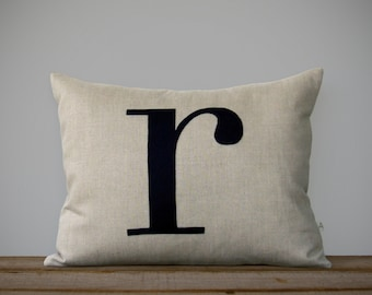 Custom Monogram Pillow | 14x18 | Personalized Home Decor by JillianReneDecor | Typography Pillow | Lower Case Letter | Initial Gift | 18x18