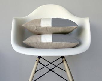 Gray & Cream Color Block Pillow (Set of 2) Modern Home Decor by JillianReneDecor | Minimal | Linen Colorblock Pillow | Paloma