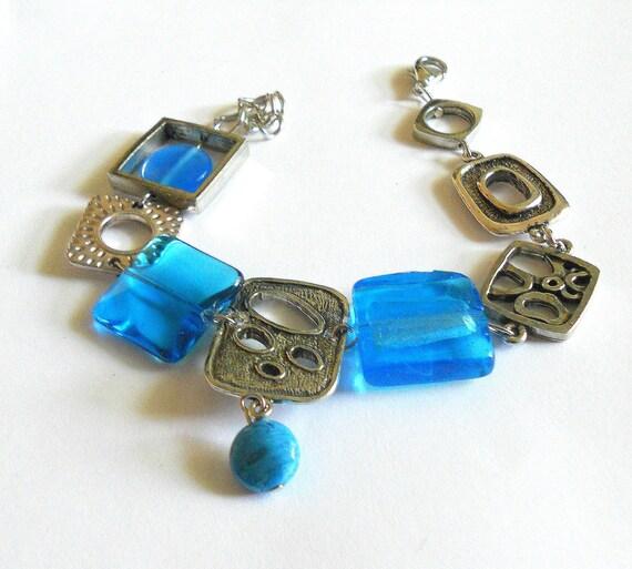 Bohemian statement bracelet, asymmetric chunky bracelet, boho chic bracelet, aqua blue bracelet, funky statement jewelry, boho chic jewelry