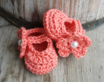 Crochet Mary Jane shoes with removable flower in coral 3 to 6 mo. size