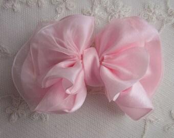 PINK Satin Organza Ribbon Ruffle Bow Applique Bridal Baby Hair Accessory