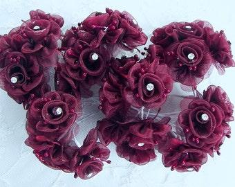 36 Chic BURGUNDY Organza Ribbon Wired Rose Flower w rhinestone Christmas Holiday Bridal Wedding Favor Bow Hair Accessory Applique