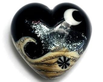 Sable Celestial Heart (Large) - Handmade Glass Lampwork Beads 11832825