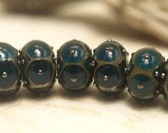 Seven Teal w/Metal Dots Rondelle Beads Raised dots design - Handmade Glass Lampwork Bead Set 10410301