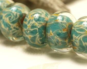 Six Emerald w/Yellow Free Style Rondelle Beads - Handmade Glass Lampwork Bead Set 10504101