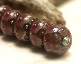 Seven Plum w/Metal Dots Rondelle Beads - Handmade Glass Lampwork Bead Set 10601701