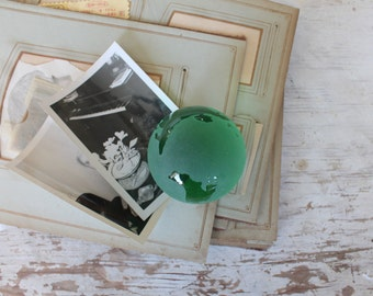 Vintage Green Glass World Sphere Globe Paperweight
