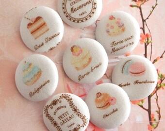 "Handmade Large Country White Pink Sweet Macarons Cupcake Food Fabric Covered Buttons, Kawaii Food Cupcake Macarons Fridge Magnets, 1.2"" 8's"