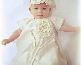 baby baptism DRESS Shabby chic PLAIN JANE in antique ivory or white custom newborn to 6