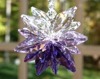 "Purple Swarovski Crystal Suncatcher, Cluster of Purple, Violet, and Clear Crystal Octagons - For Car Window - ""AURA PURPLE"" - 5"" Length"