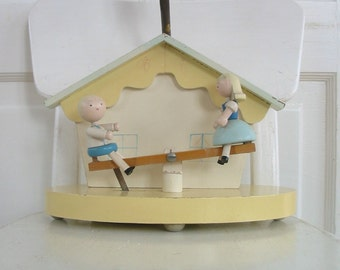 Vintage Nursery Lamp Irmis Baby Child Boy Girl See Saw Wood Bedroom