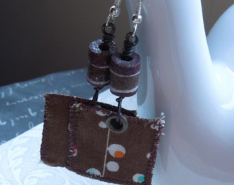 Brown Bohemian Repurposed Fabric Textile, with Brown Handmade African Glass Beads