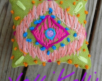SALE Ikat Pattern Freehand Embroidered Mini Pillow