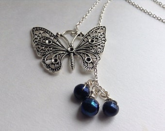 Steampunk Butterfly Necklace with Black Pearl Drops
