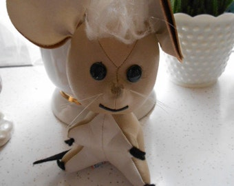 Vintage Mouse Toy figure by R. Dakin & Co Prod of Japan Beige Vinyl Material stuffed