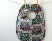 Unique Baby Gift - Owl Baby Bib - Gender Neutral Baby Shower Gift - Toddler Bib with Snaps - Unisex Owl Snap Bib